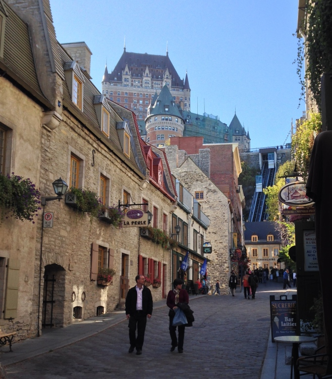 A View of the Frontenec Hotel and the Funicular from Vieux Quebec