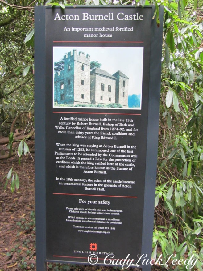 Sign for Acton Burnell Castle, England