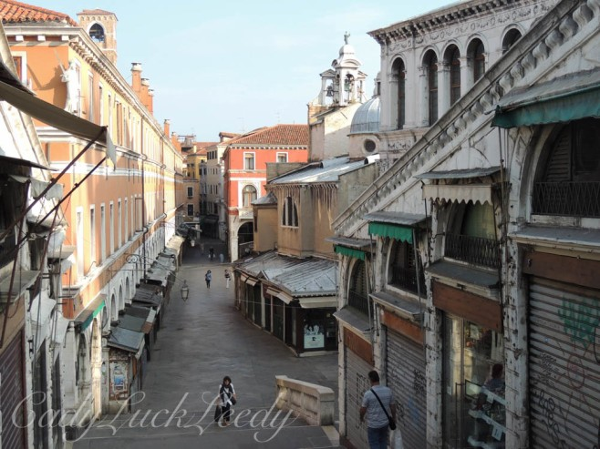 Walk Over Rialto Bridge to the Market, Venice, Italy
