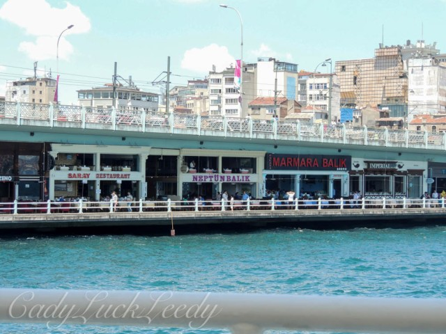 Restaurant Lined The Galata Bridge, Isanbul, Turkey