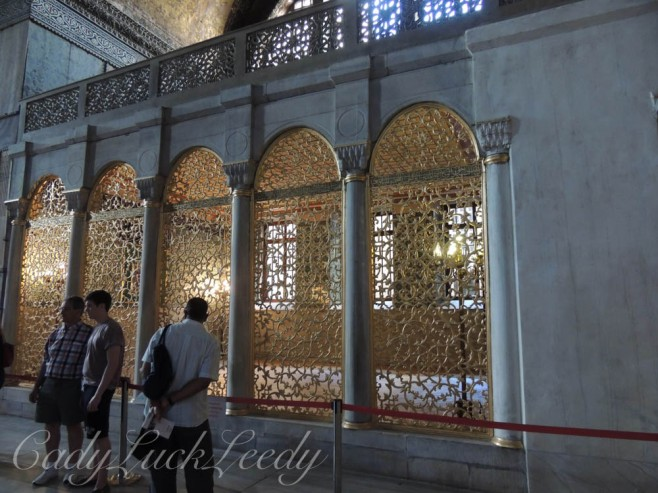 Intricate Gold Lace Partitions, Hagia Sophia, Istanbul, Turkey