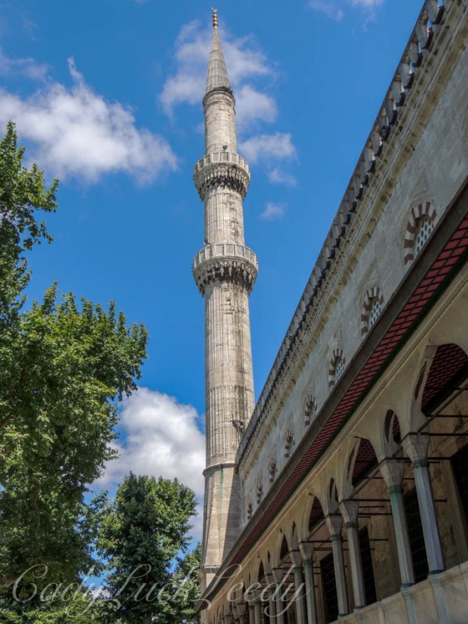 A Minaret of the Blue Mosque, Istanbul, Turkey