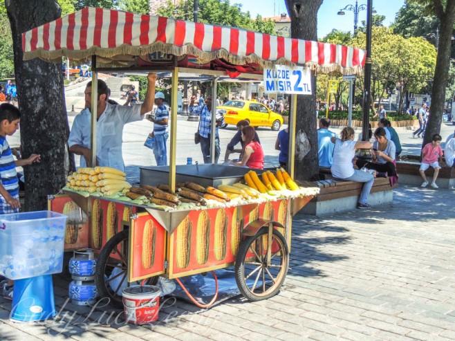 Eating at Sutanahmet Park, Istanbul, Turkey