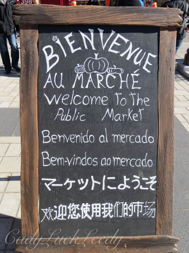 The Welcome Sign at the Public Market during Fall Days in Quebec City, Canada