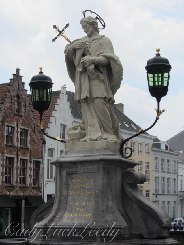Buildings, Stonework, and Lighting, in Bruges Belgium