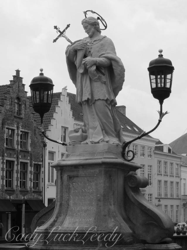 Black and White, Buildings, Stonework, and Lighting, in Bruges Belgium