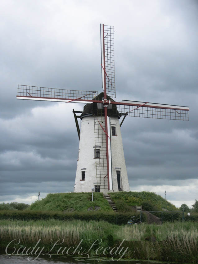 A Windmill Along the Canal in Damme, Belgium