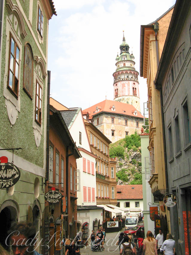 The View of the Round Tower from Main Street, Cesky Krumlov, the Czech Republic