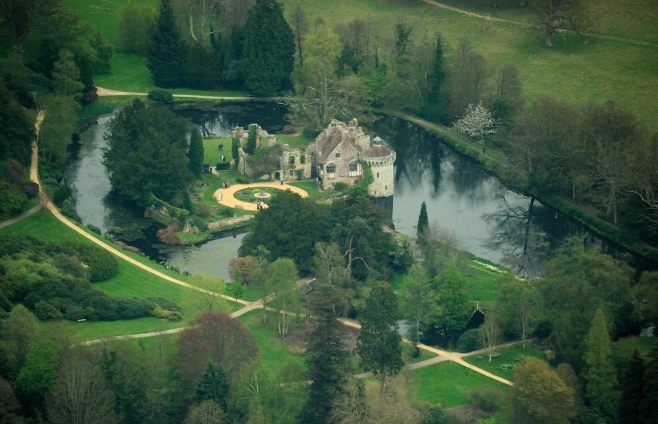 Aerial View of Scotney Castle, Lamberhurst, Kent, UK