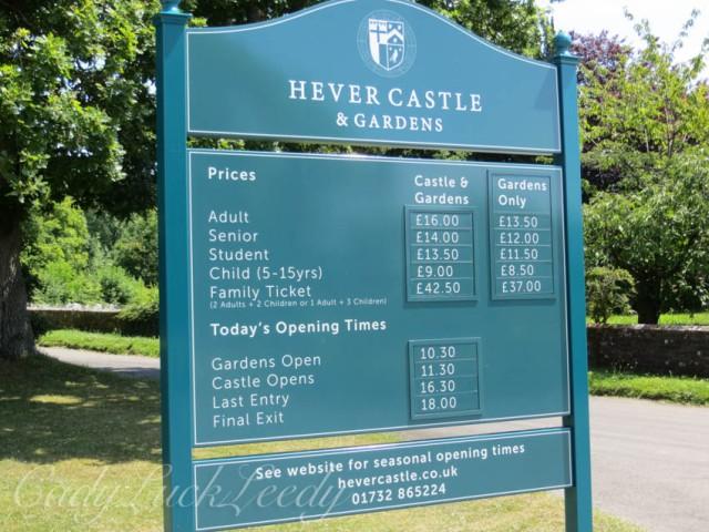 Sign at Hever Castle, Edenbridge, UK