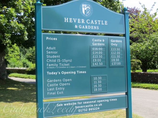 Sign at Hever Castle, Edenbridge, UK