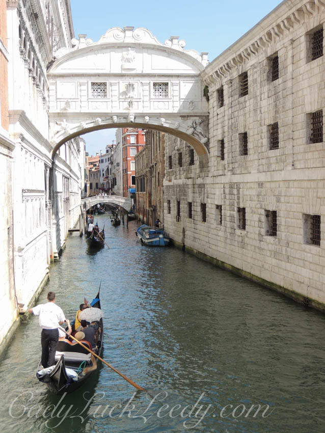 Looking Up at the Bridge of Sighs, Venice, Italy