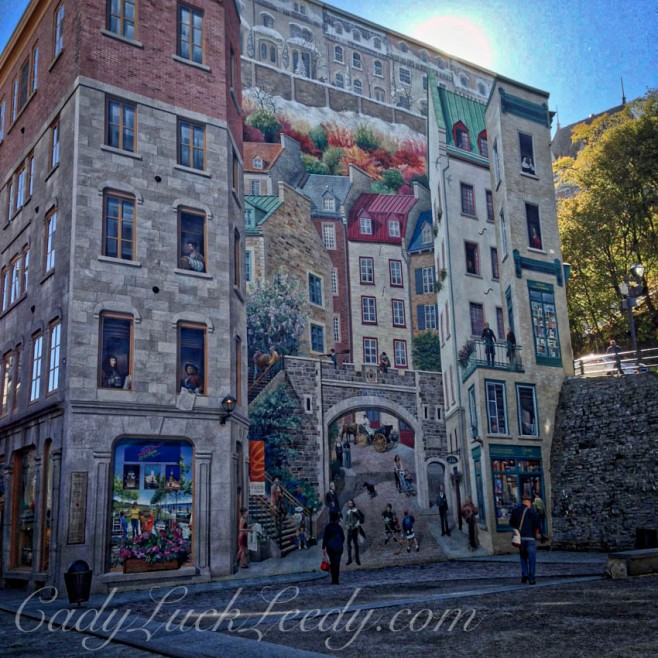 Artwork on Buildings in Ville de Quebec, Canada
