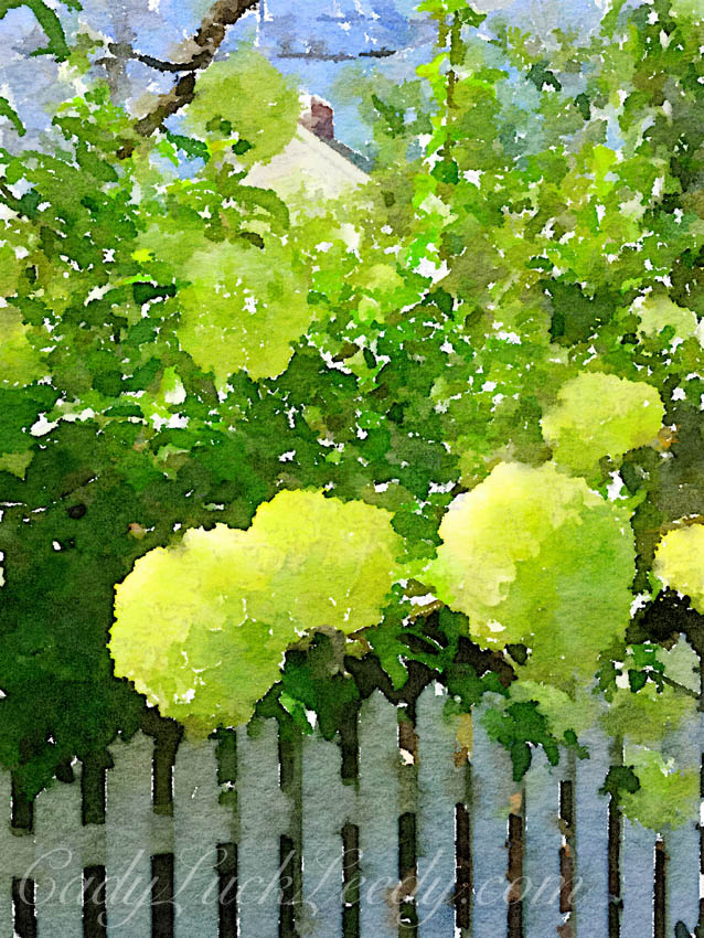 Spring Green Snowball Painted in Waterlogue App