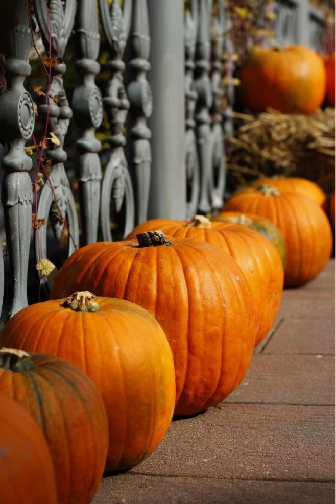 Pumpkins by the Railing