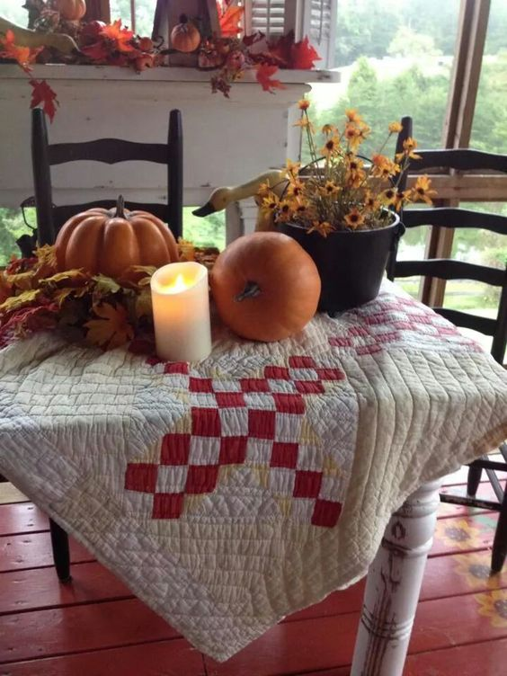 The Pumpkins on a Quilt