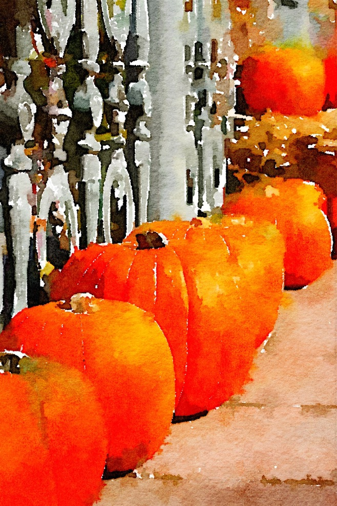 Pumpkins by the Railing in Waterlogue